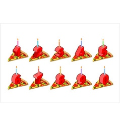 Pizza and birthday numbers candles set holiday vector image