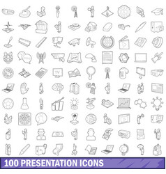 100 presentation icons set outline style vector image vector image