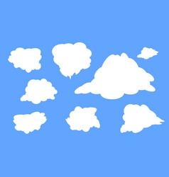 different types of white clouds on a blue vector image