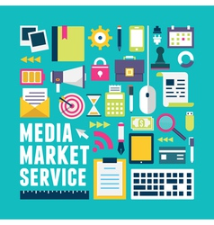 Flat concept of media market service vector image vector image