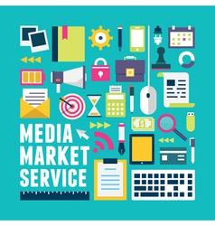 Flat concept of media market service vector image