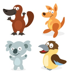 Four Cartoon Australian Animals vector image vector image
