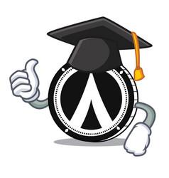 Graduation dentacoin mascot cartoon style vector
