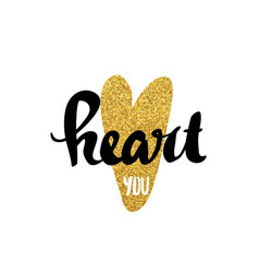 heart gold lettering for poster vector image vector image