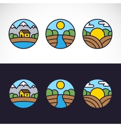 Nature Landscape Logo Template Set vector image