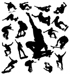 skateboarder silhouettes vector image vector image