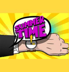 summer time comic text hand watch pop art vector image vector image