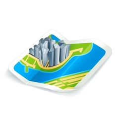 Town on the map icon vector image