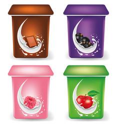 Yogurt cream packaging design template with chocol vector