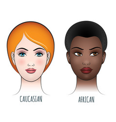 african and caucasian female faces vector image vector image