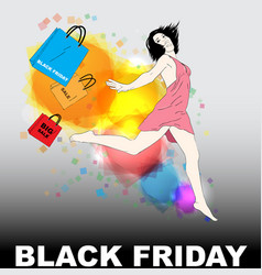 black friday with young girl vector image vector image