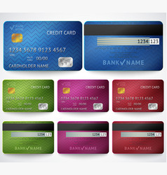 Set of realistic credit card two sides isolated vector image