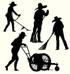 Silhouette of people gardening vector image