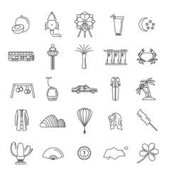 singapore line icons set vector image