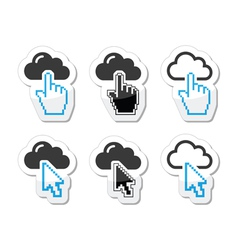 Cloud with cursor hand and arrow icons set vector image vector image