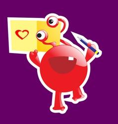Cute monster in love vector image