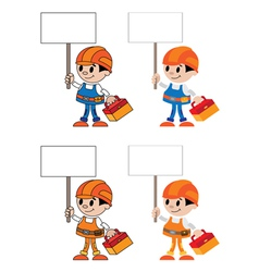 figures with blank sign vector image vector image