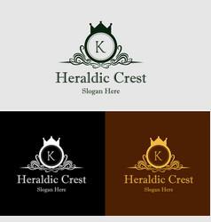 heraldic crest logo vector image vector image