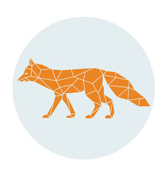 polygonal silhouette of a orange fox side view vector image vector image