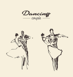 set dancing couple draw sketch vector image