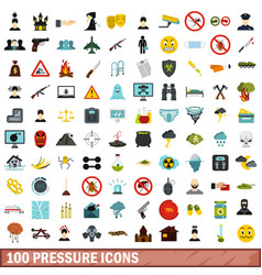 100 pressure icons set flat style vector