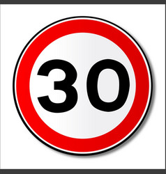 30 mph limit traffic sign vector