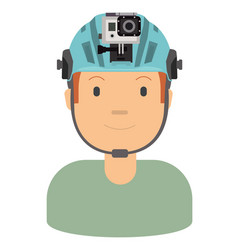 A young man wearing helmet and action camera to vector