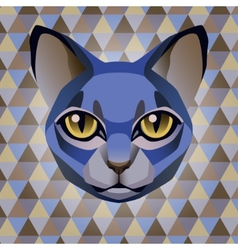 Abstract blue cat on a rhombus background vector