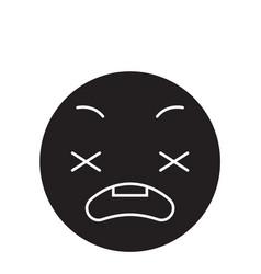 Anxious emoji black concept icon vector
