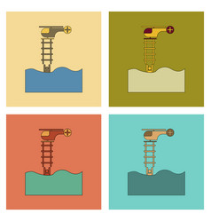 Assembly flat icons people in the water helicopter vector