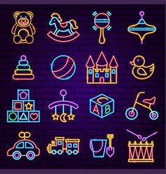 baby toys neon icons vector image