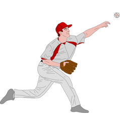 Baseball pitcher detailed vector