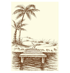 Beach drawing wharf and palm trees on shore vector