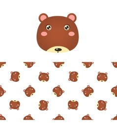 Bear Head Icon And Pattern vector image