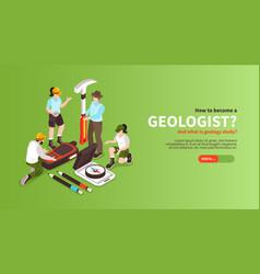 Become geologist horizontal banner vector