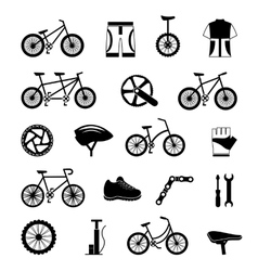 Bicycle accessories black icons set vector