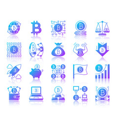 bitcoin simple gradient icons set vector image