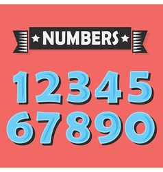 Blue cartoon numbers set on coral background vector