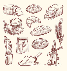 bread sketch flour mill baguette french bake bun vector image