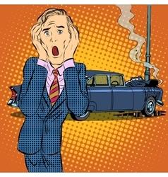 Car accident man panic vector image