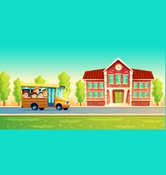 Cartoon kids back to school on yellow bus vector