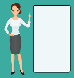 Cartoon woman clip-art presenting finger raised up vector
