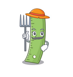 Cheerfully farmer ruler cartoon picture with hat vector