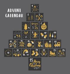 Christmas advent calendar hand drawn elements vector