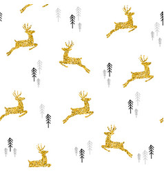Christmas gold glitter deer xmas seamless pattern vector