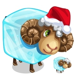 Christmas sheep in ice cube isolated vector