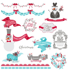 Christmas Snowman and New Year Theme vector image