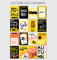 collection of autumn sale flyer with lettering vector image