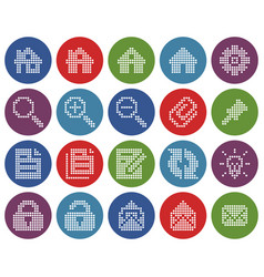 collection round dotted icons user interface vector image