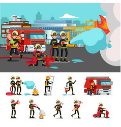 Colorful firefighting composition vector